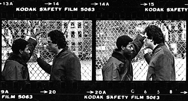 1981: After the courthouse intervention, each youth is assigned to a youthworker who's on call 24/7 for mentoring and role modeling. In this photo, Angel Rodriguez follows up with a Glover client in a local park